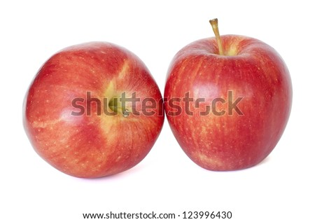Two ripe red apples isolated on the white background - stock photo