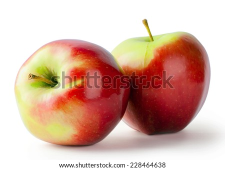 Two ripe red apples isolated on white background