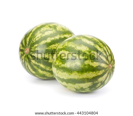 Two ripe watermelon isolated on white background - stock photo