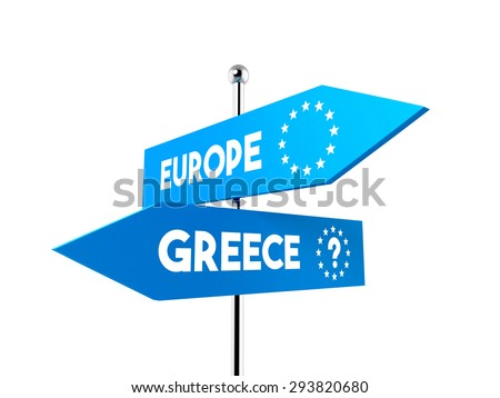 two road signs. Greece and European Union pointing in different directions - stock photo