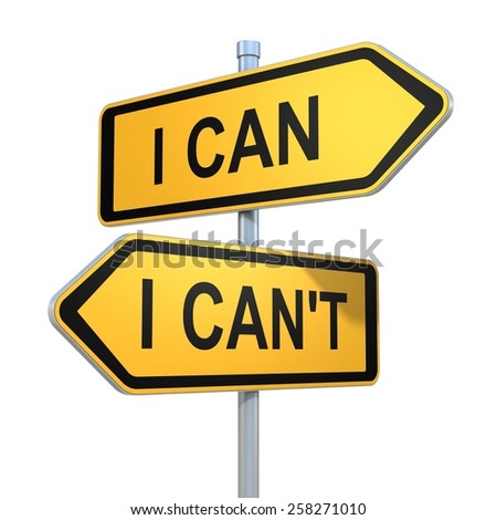 two road signs - I can - I can't choice - stock photo