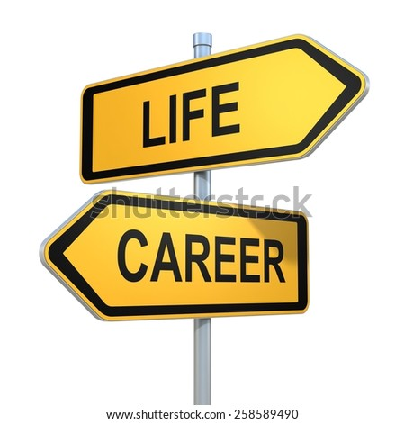 two road signs - life or career choice - stock photo