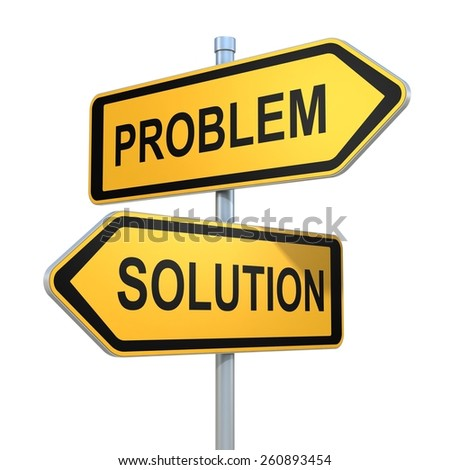 two road signs - problem and solution choice - stock photo