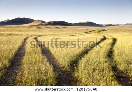 Two roads meet and separate in the Gobi Desert. Mongolia - stock photo