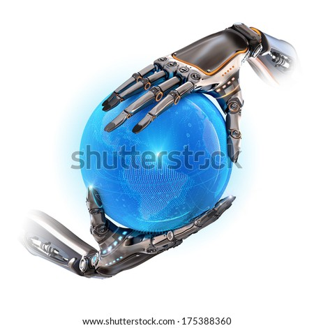 Two robotic android hands holding blue digital shining earth globe as futuristic sci-fi design concept on white background - stock photo