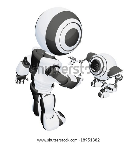 Two robots interacting in a friendly, inviting way. Good concept for showing social diversity and friendship. - stock photo