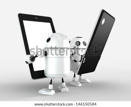 Two robots with blank tablet computers. Rendered on white - stock photo
