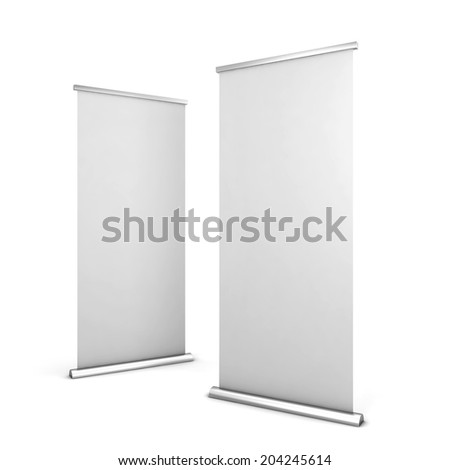 Two roll up banners. 3d illustration isolated on white background  - stock photo