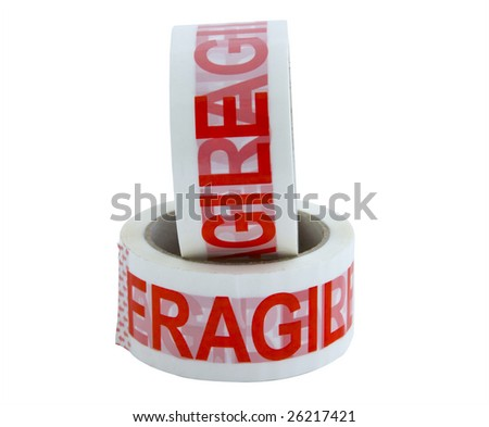 two rolls of fragile packing sticky tape