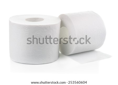 Two rolls of toilet paper isolated on white - stock photo