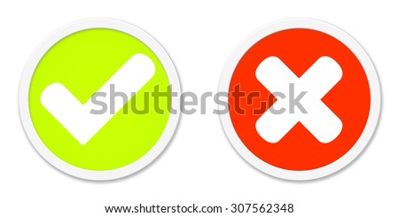 Two round Buttons Red Green agree or disagree