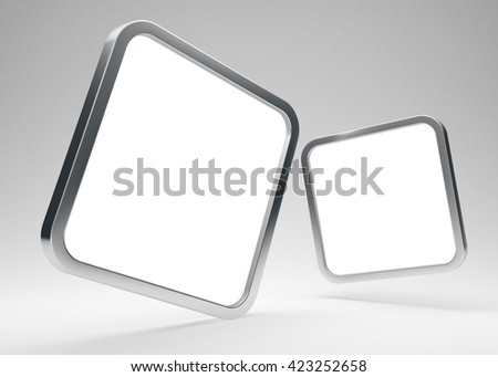 Two rounded square blank metallic icons with white screens - 3D render - stock photo