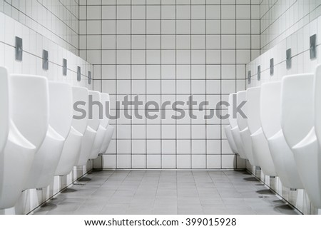two row of men urinal toilet - stock photo
