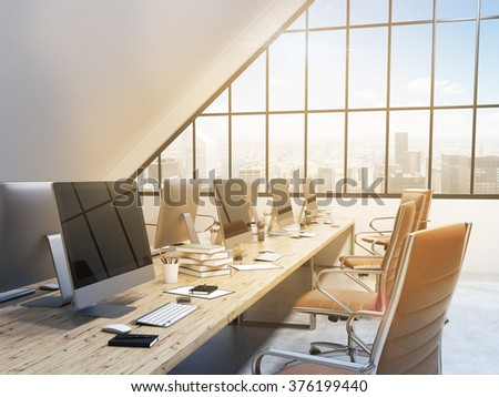 Two rows of tables facing each other leading to the panoramic window in an office in an attic. Computers and stuff on them, brown chairs. NYC view. Concept of a modern office. 3D rendering - stock photo