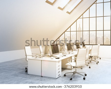 Two rows of tables leading to the panoramic window in an office in an attic. Computers and stuff on them, white chairs. NYC view. Filter, toned image. Concept of a modern office. 3D rendering - stock photo