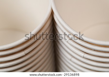 Two rows of the paper cups with visible bottom - stock photo