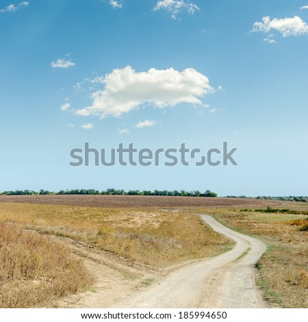 two rural roads in steppe and cloud in blue sky - stock photo