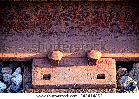Two rusty old nails fastening a train track.