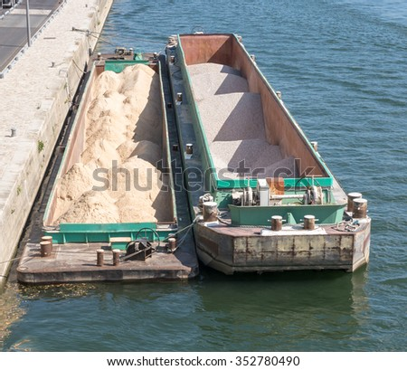 Two sand barge in the seine river in Paris - stock photo