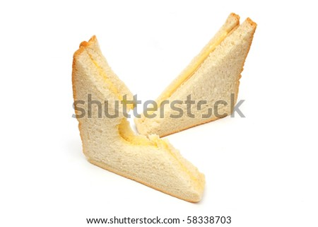 Two sandwich cut into triangle isolated over white background.