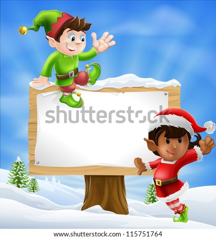 Two Santa's helper type Christmas characters with a large sign with copyspace - stock photo