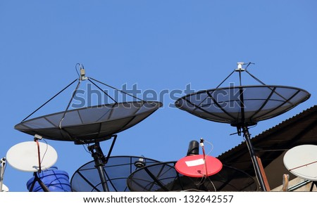 Two satellite dishes.