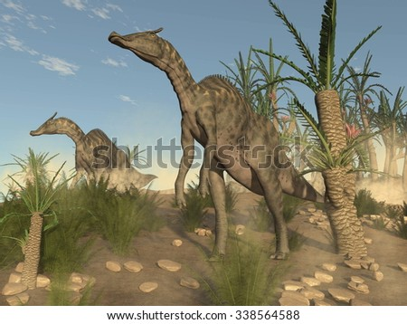 Two saurolophus dinosaurs walking among onychiopsis and williamsonia trees by day - 3D render - stock photo