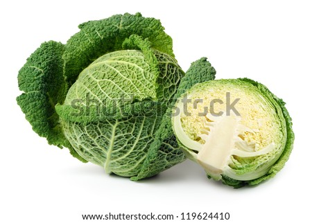 Two savoy cabbages isolated over white background - stock photo