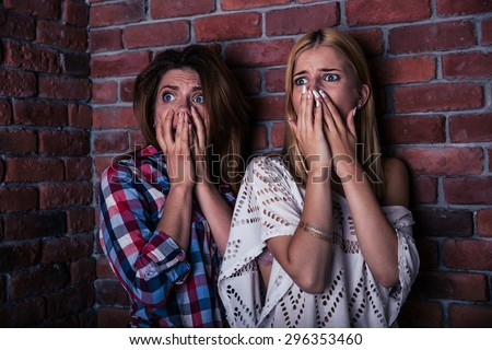 Two scared woman standing with brick wall on background - stock photo