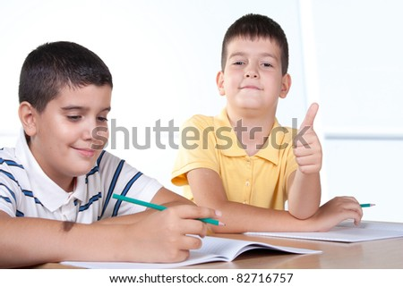 Two schoolboy - stock photo