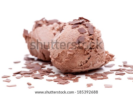 Two scoops of chocolate ice cream decorated with chocolate chips - stock photo