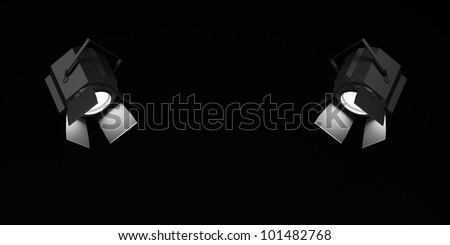 Two searchlights which were shone in the dark. - stock photo