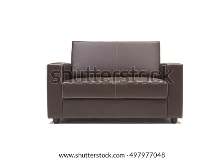 Two seater leather sofa with cushions against white background