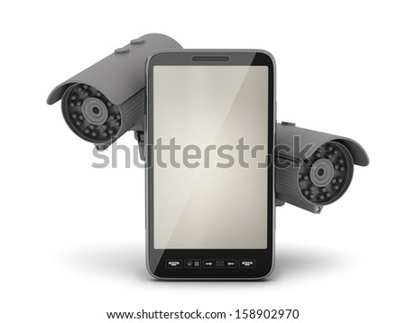 Two security cameras and mobile phone - stock photo