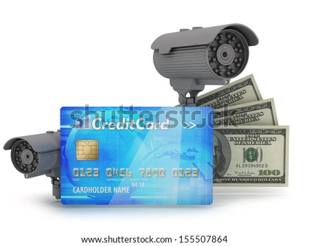 Two security cameras, credit card and dollar bills - stock photo