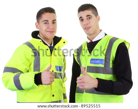 Two security guards with a thumbs up