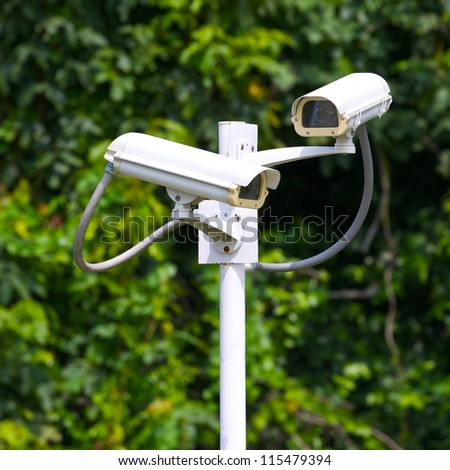 two security surveillance cameras near green forest