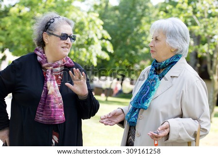 two senior ladies chatting friendly during a walk in the park