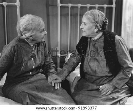two senior woman - stock photo