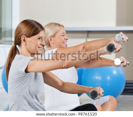 Two senior women exercising with dumbbells in fitness center - stock photo