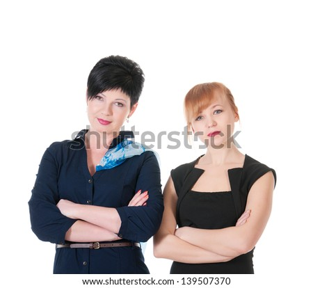 Two serious business women. - stock photo