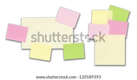 Two sets of colored sticky notes isolated on white