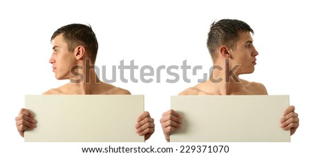 Two sexy men showing copy space blank signs isolated on white - stock photo