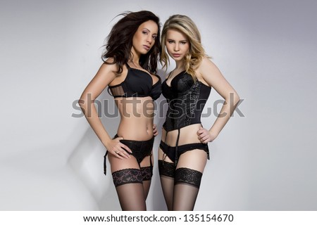 Two sexy woman posing in lingerie - stock photo