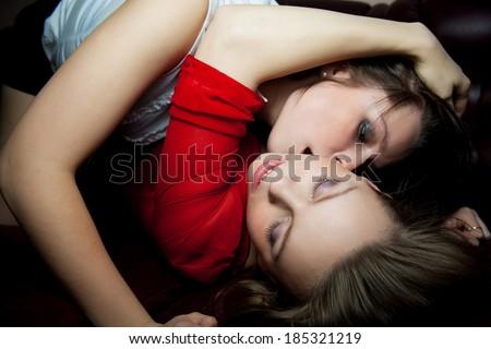 Two Sexy Lesbians Kissing