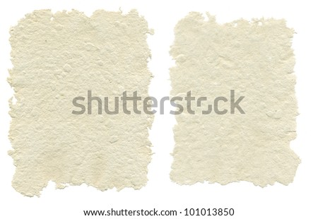 Two sheets of handmade paper, isolated on white background - stock photo