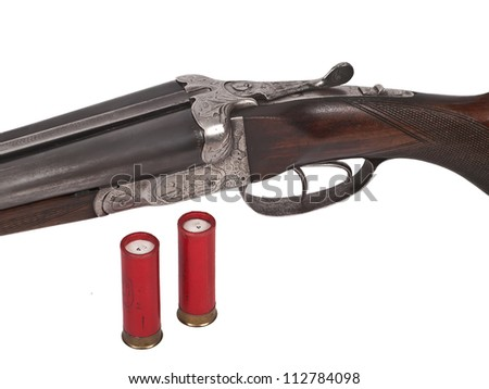 two shells and double barrel shotgun