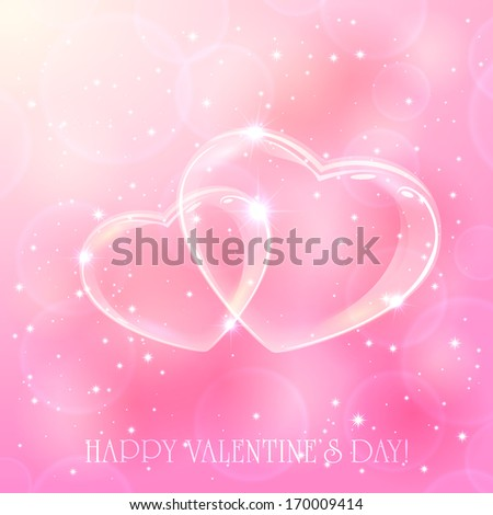 Two shinny hearts on pink background with stars, illustration. - stock photo