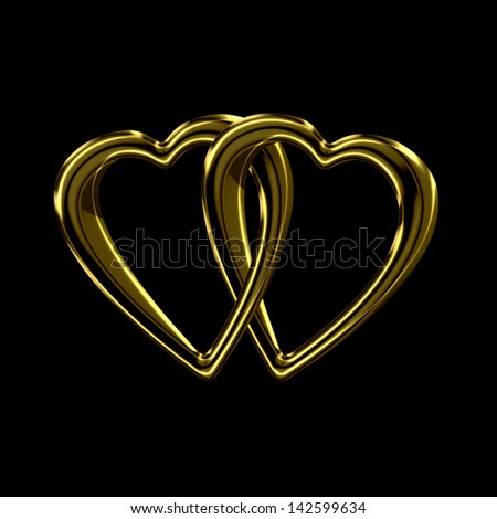 Two shiny golden hearts linked together as a token of shared love isolated on black - stock photo