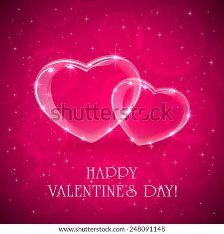 Two shiny hearts on pink Valentines background, illustration.  - stock photo